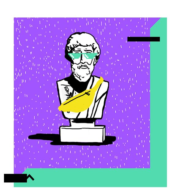 Cartoon statue of Plato